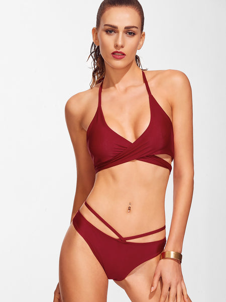 Burgundy Halter Push Up Wrap Bikini Set