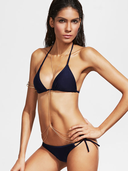 Navy Triangle Halter Neck Side Tie Bikini Set