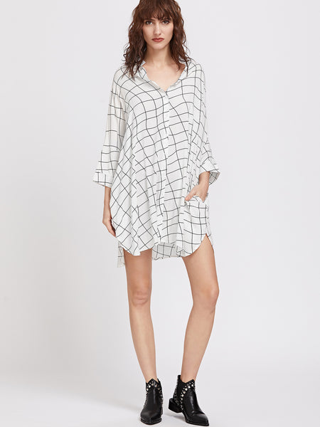 White Plaid Long Sleeve Irregular Batwing Shirt Dress