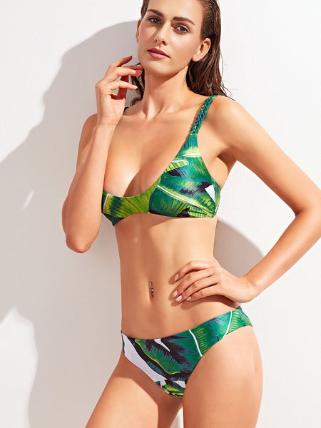 Green Tropical Print Double Braided Strap Bikini Set
