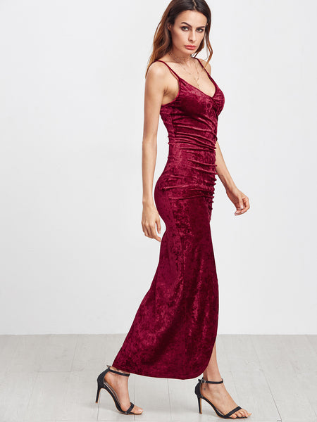 Burgundy Front Ruched High Slit Velvet Cami Dress