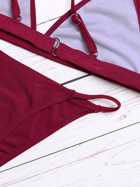 Burgundy Triangle No Pad Sexy Bikini Set