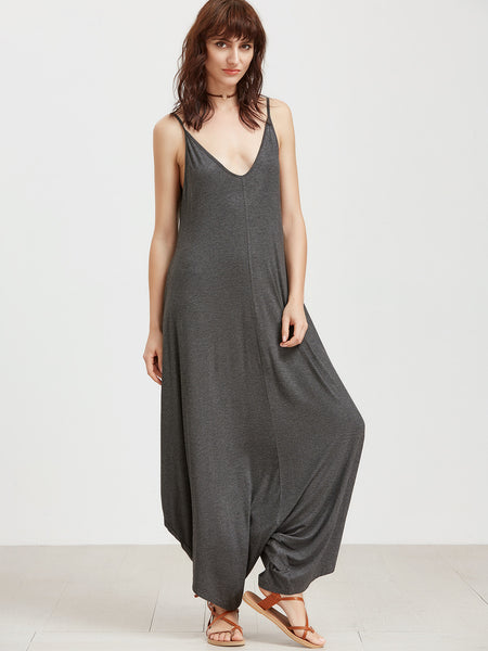 Grey Double V-Neck Spaghetti Strap Drop Crotch Jumpsuit