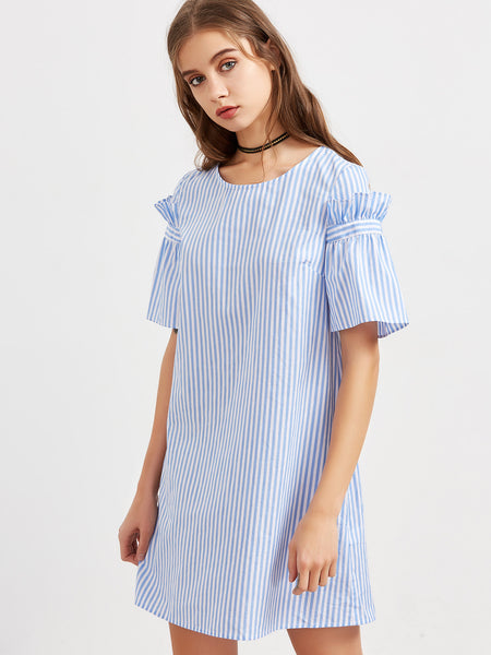 Blue Vertical Striped Round Neck Ruffle Sleeve Mini Dress