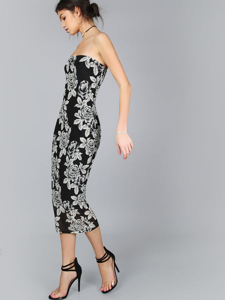 Black Floral Print Sleeveless Strapless Sheath Midi Dress