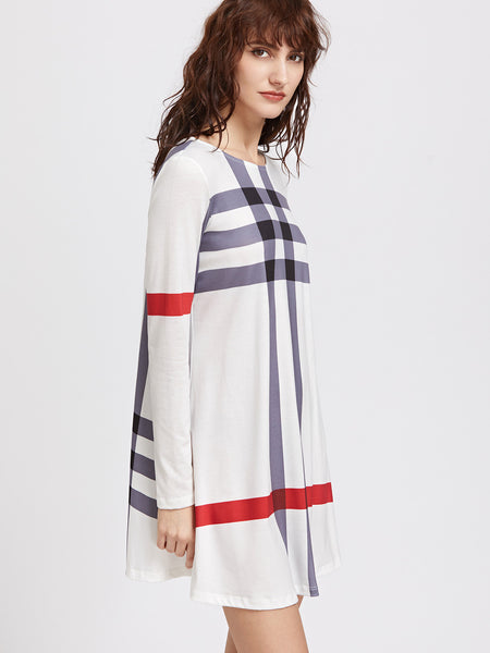 White Round Neck Striped Long Sleeve Tee Dress