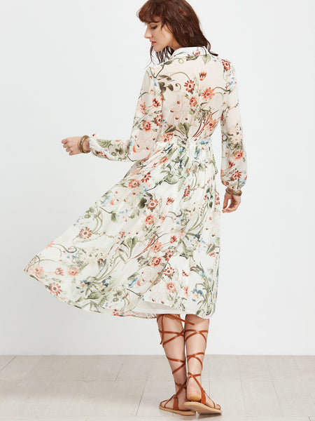 White Botanical Print Long Sleeve Self Tie Midi Dress