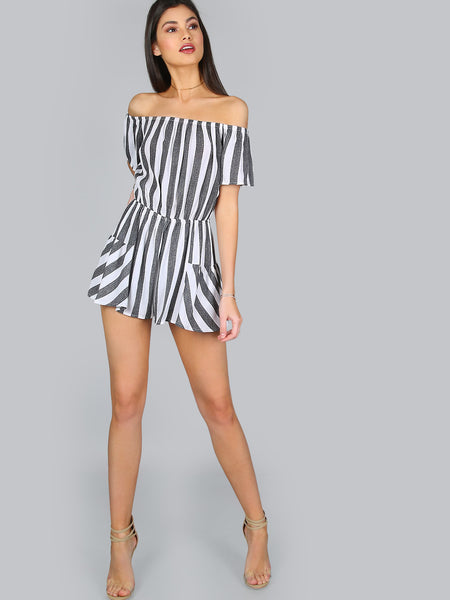 Black Stripe Short Sleeve Off Shoulder Romper