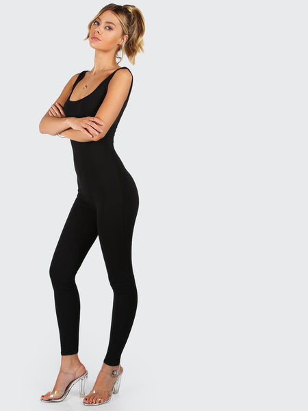 Black Skinny Fit Scoop Neck Tank Jumpsuit