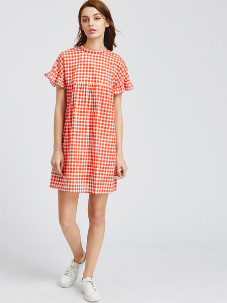 Orange Frill Short Sleeve Checkered Keyhole Tie Back Dress