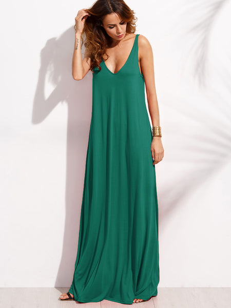 Green Sleeveless Double V-Neck A-Line Tent Dress