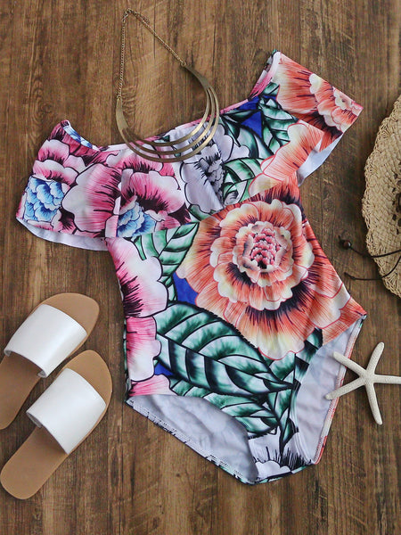 Multicolor Floral Print Off Shoulder Layered Swimsuit