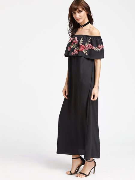 Black Off Shoulder Rose Patch Ruffle Maxi Dress