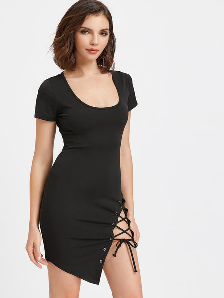 Black Scoop Neckline Lace Up Asymmetric Bodycon Dress