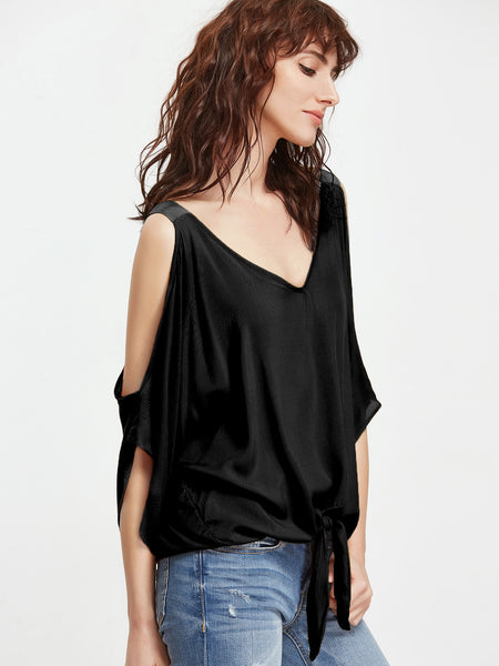 Black Thick Strap V-Neck Knot Front Cold Shoulder Blouse