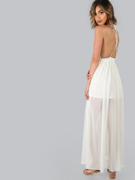 White Deep V-Neck Crisscross Back Maxi Dress