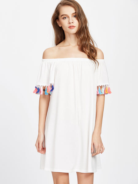 White Off Shoulder Short Sleeve Tassel Trim Mini Dress