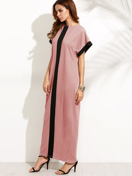 Pink Contrast Panel Cocoon Maxi Dress