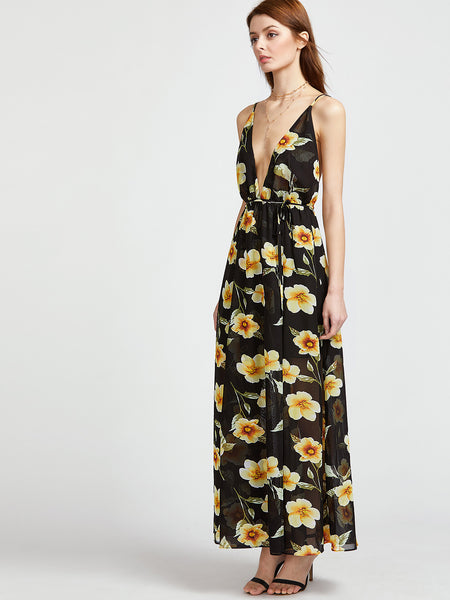 Black Floral Print Plunging Neckline Self-Tie Caged Back Dress