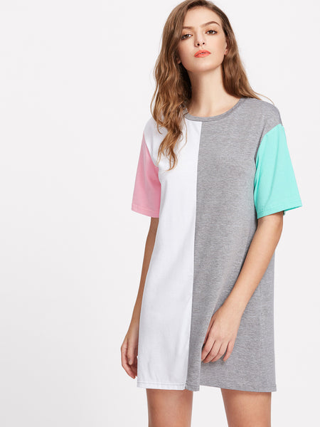 Multicolor Cut and Sew Short Sleeve Tee Dress