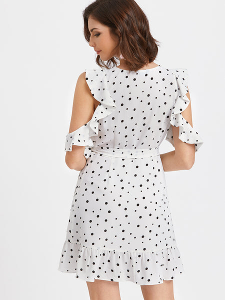 White Polka Dot Print Cold Shoulder Frill Trim Surplice Dress