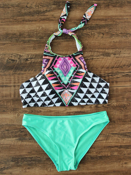 Multicolor Mix & Match Geometric Print Bikini Set