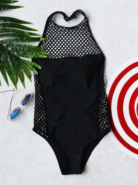 Black Halter Hollow Out One Piece Swimwear