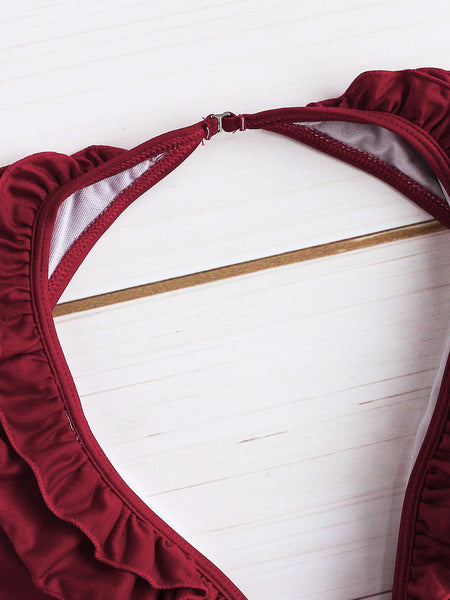 Burgundy Ruffle Plunge Neck Open Back Monokini