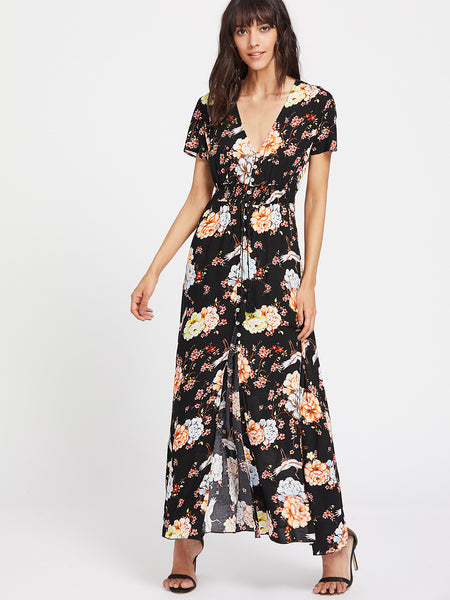 Black Floral Print Plungy Neckline Short Sleeve Maxi Dress