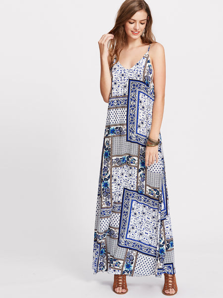 Blue Patchwork Print V-Neck Cut Out Back Cami Dress