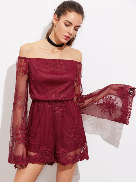 Burgundy Off Shoulder Fluted Sleeve Embroidered Overlay Romper