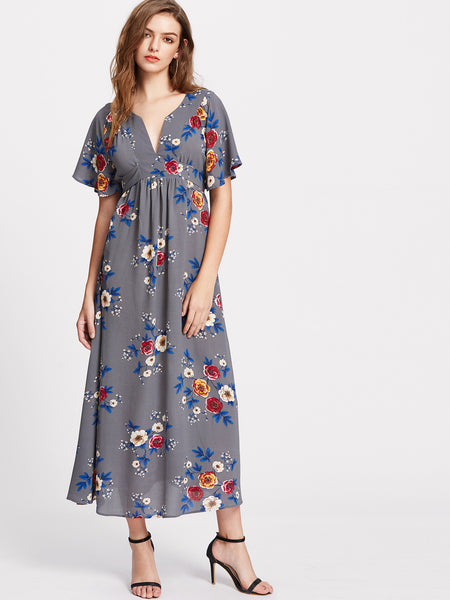 Grey Floral Print Flutter Sleeve V-Neck Belted Dress