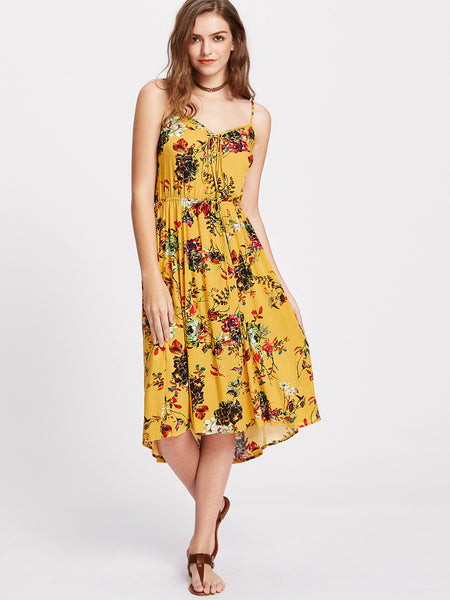 Yellow Floral Print V-Neck Elastic Waistline High Low Dress