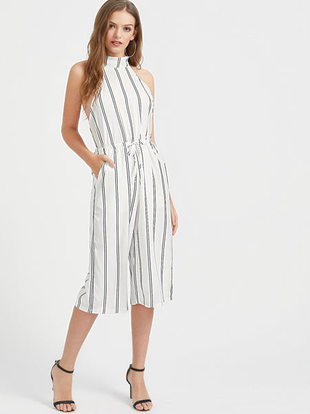White Halter Neck Tie Waist Open Back Vertical Striped Romper