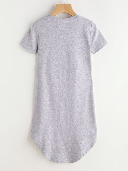 Grey Heather Distressed Curved Hem Tee Dress