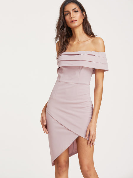 Pink Off Shoulder Fold Over Asymmetric Dress