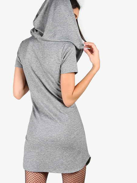 Grey Short Sleeve Crossover Heather Knit Cowl Hoodie Dress