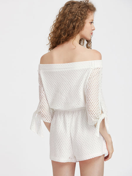 White Eyelet 3/4 Sleeve Off Shoulder Shoulder And Waist Tie Sleeve Playsuit