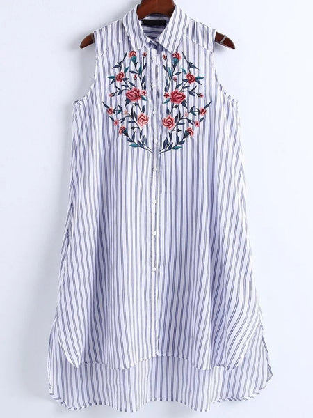 Blue Vertical Striped Sleeveless Floral Print High Low Shirt Dress