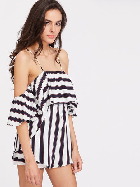 Multicolor Striped Layered Off Shoulder Cross Back Playsuit