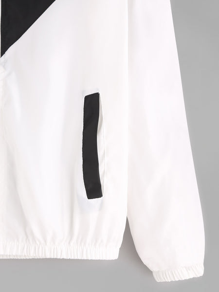 Black and White Drawstring Zip Up Hooded Jacket