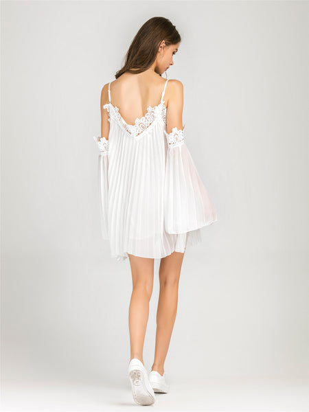 White Lace Trim Bell Sleeve Chiffon Pleated Slip Dress