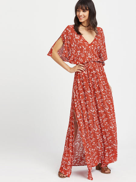 Red Deep V-Neck Side Split Ditsy Kimono Dress