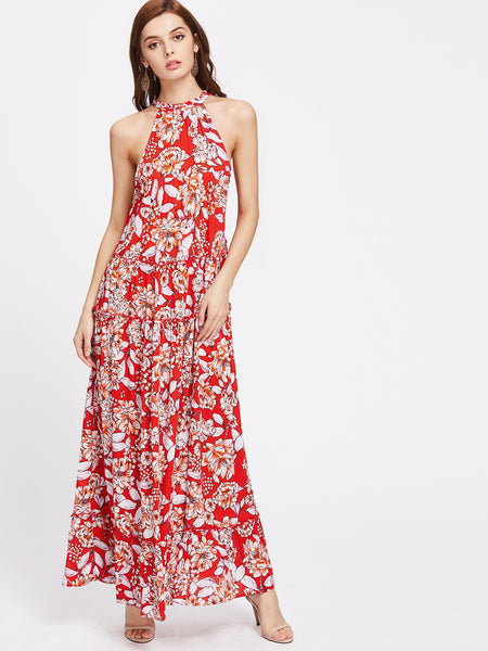 Red Halter Neck Drawstring Floral Frilled Maxi Dress