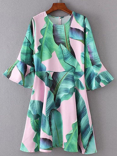 Green Banana Leaf Print 3/4 Sleeve Back Zip Dress