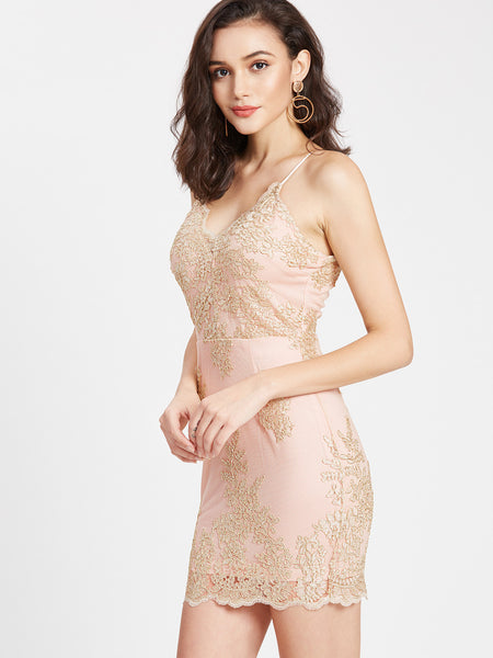 Pink Embroidered Mesh Overlay Dress
