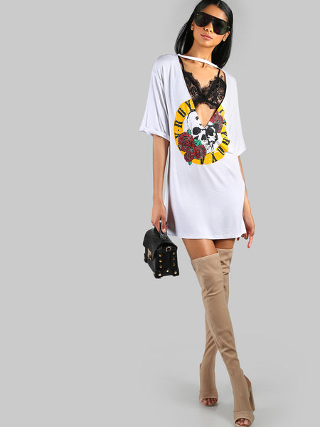 White Rose And Skull Print Deep V-Neck Plunge Chocker Short Sleeve Mini Dress