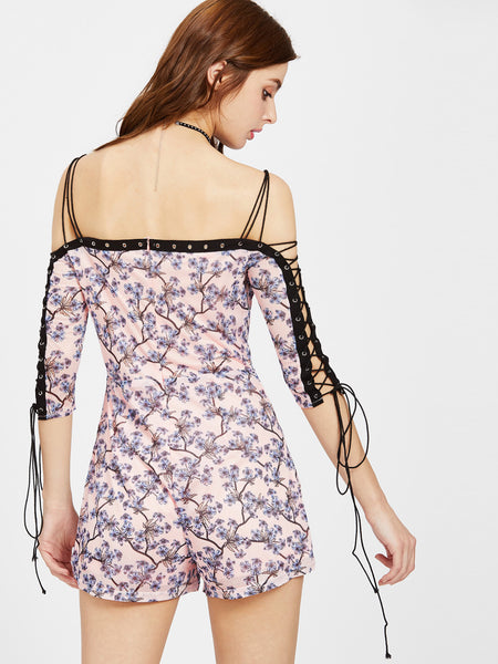 Pink Floral Print 3/4 Sleeve Cami Straps Strappy Cold Shoulder Lace Up Playsuit