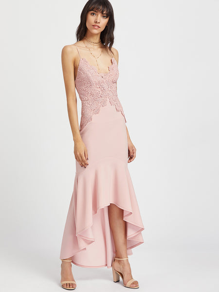 Pink V-Neck Tie Up Back High Low Lace Dress
