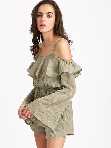 Green Plain Long Sleeve Cami Strap Cold Shoulder Fluted Sleeve Blouson Playsuit